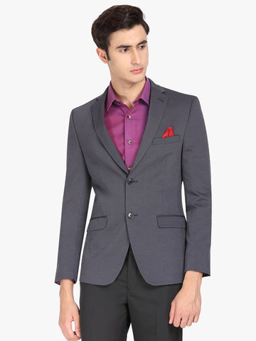 Blue Textured Men's Jacket (JT0347)