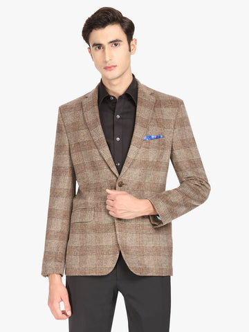 Brown Houndstooth Men's Jacket (JT0354)