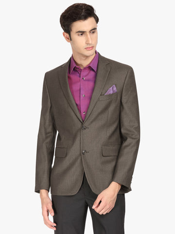 Brown Textured Men's Jacket (JT0357)