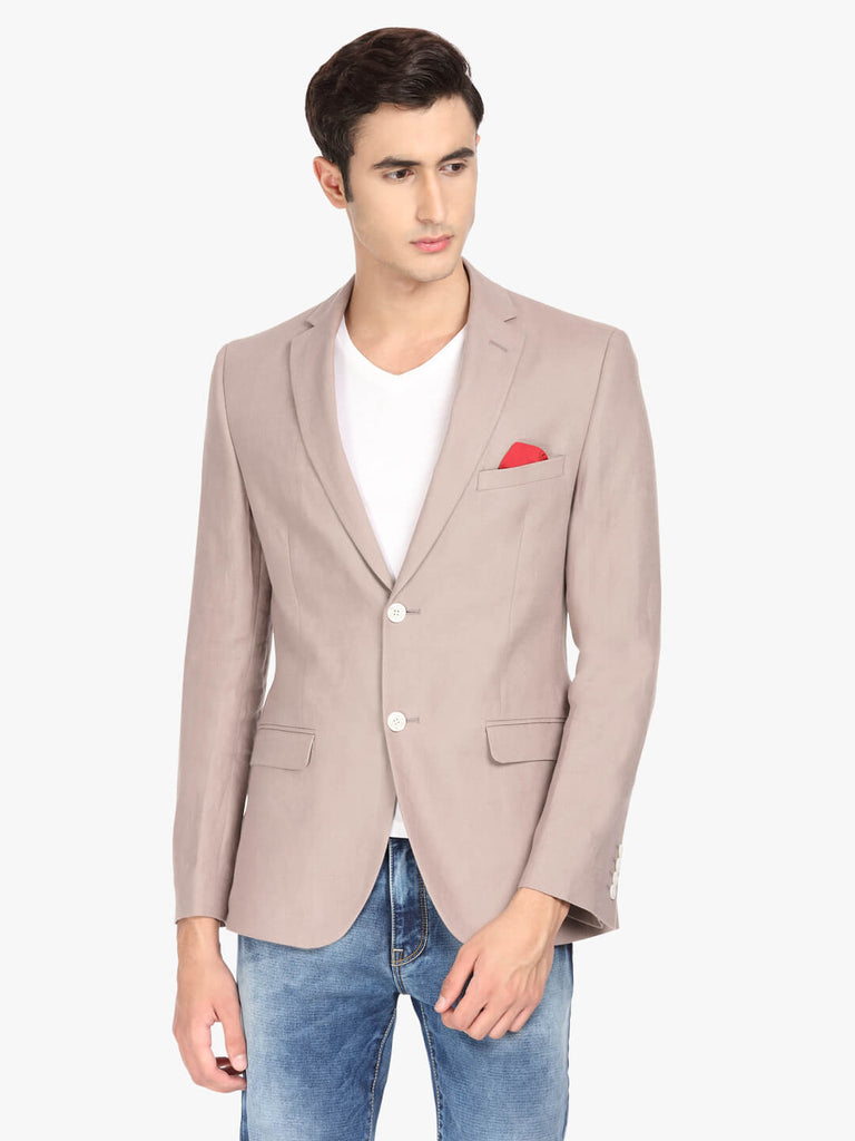 Taupe Solid Linen Men