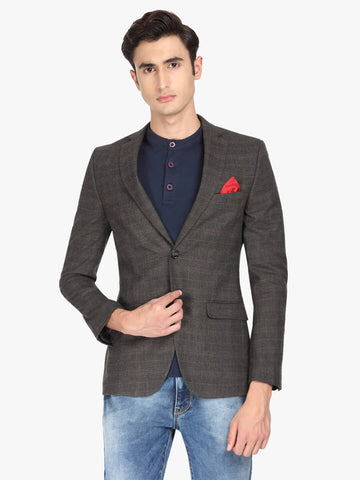 Brown & Black Houndstooth Men's Jacket (JT0342)