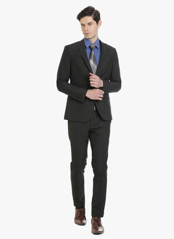 Dark Grey Textured Men's Suit (ST0095)