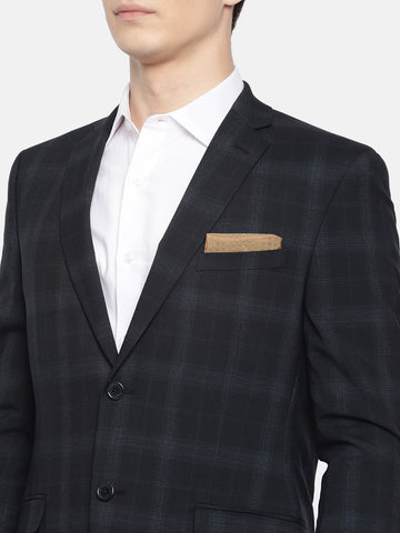Navy Blue Checked Men's Suit (ST0116)