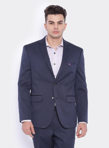 Navy Solid Men's Jacket (2066)