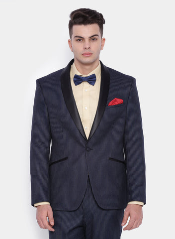 Navy Stripe Men's Shawl Tuxedo Jacket (2051)