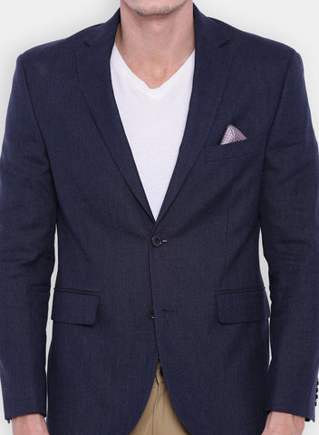 Navy Textured Men's Jacket (JT0225)