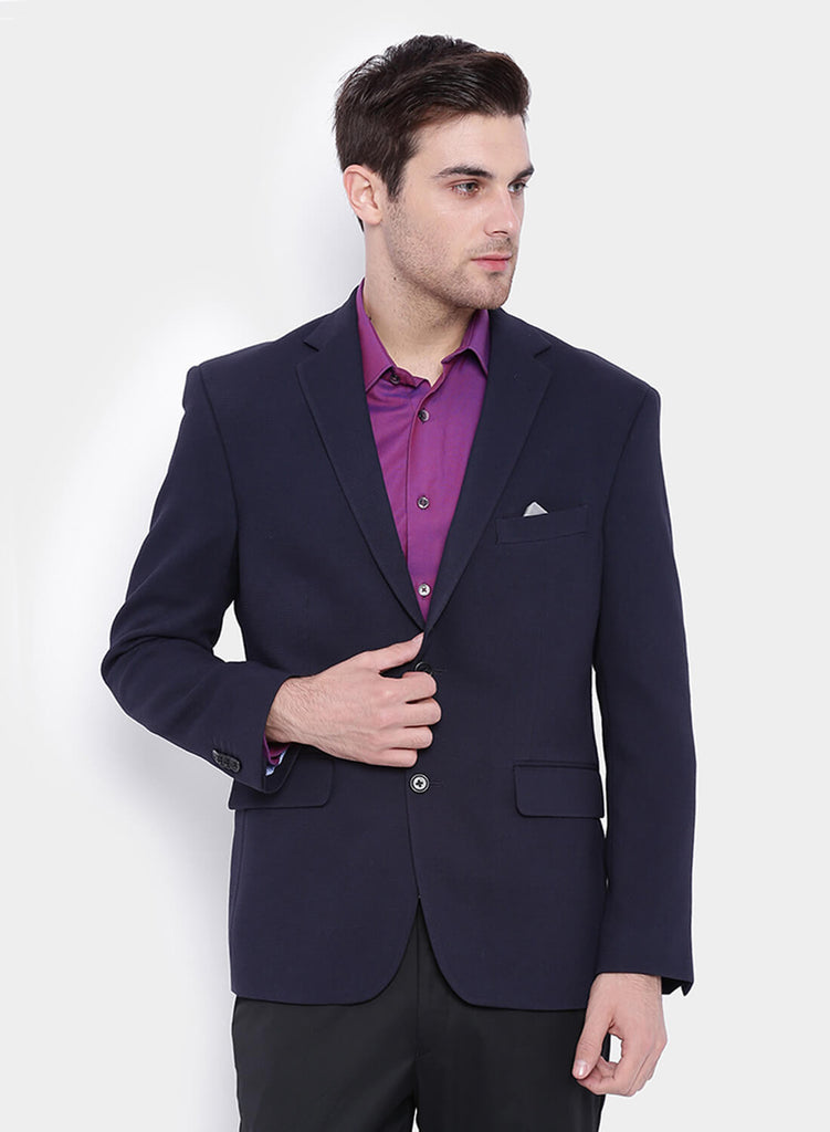 Navy Textured  Men