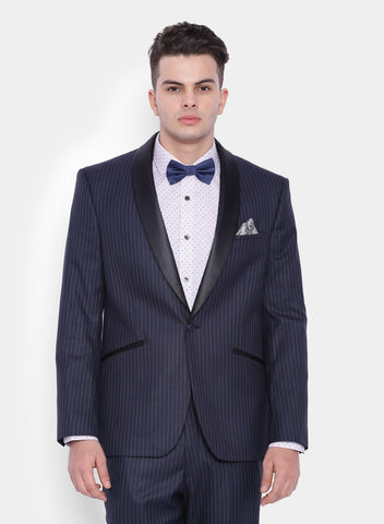Navy Twill Stripe Men's Tuxedo Jacket (2054)