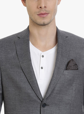 Dark Grey Linen Half-Lined Men's Jacket (JT0315)