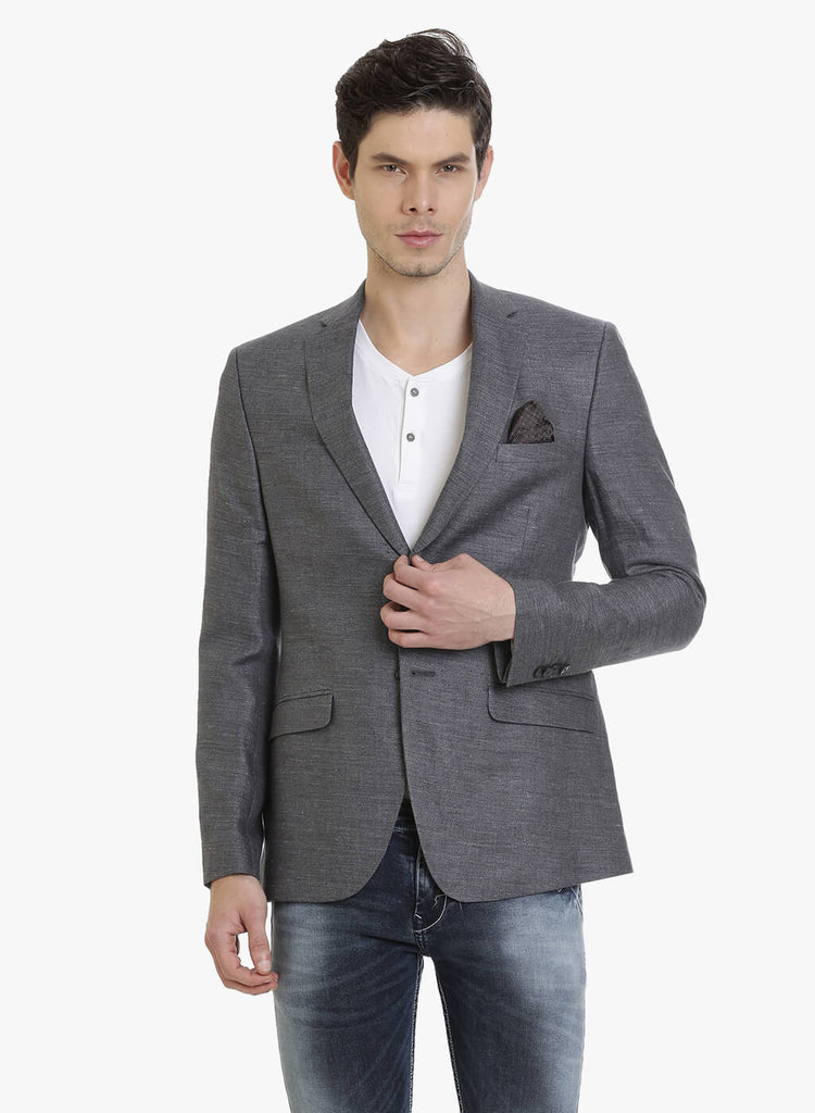 Dark Grey Linen Half-Lined Men