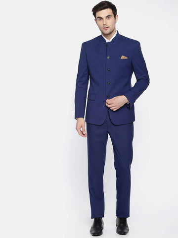 Royal Blue Solid Men's Bandhgala Suit (ST0098)