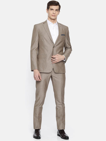 Brown Linen Blend Men's Suit (ST0127)
