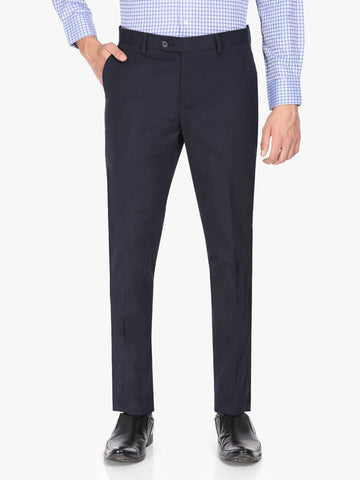 Blue Solid Cotton Men's Trouser (PT0124)