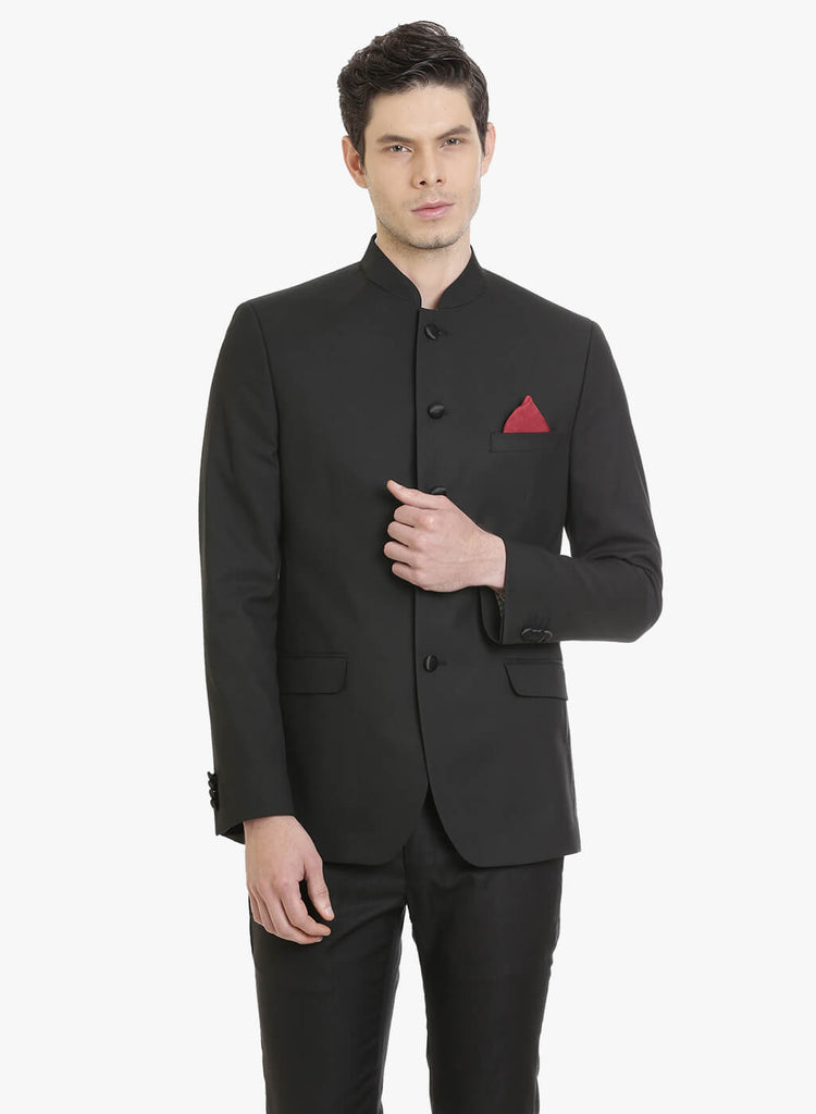 Black Textured Bandhgala Men
