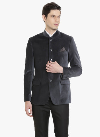 Grey Velvet  Bandhgala Men's Jacket (JT0322)