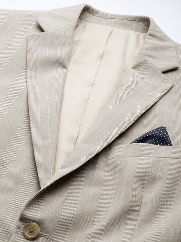 Beige Check Men's Suit (ST0122)
