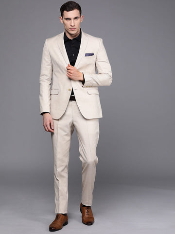 Beige Solid Men's Suit (ST0103)