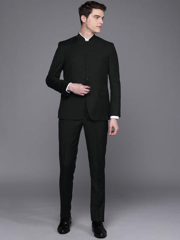 Black Solid Men's Bandhgala Suit (ST0102)