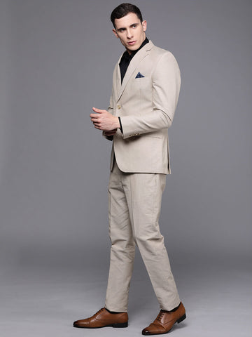 Beige Solid Men's Suit (ST0118)