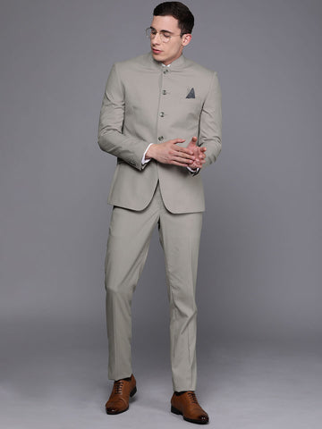 Grey Solid Men's Bandhgala Suit (ST0099)