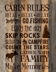 Cabin Rules Wall Decor - PuzzleMatters