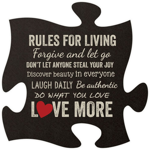 Rules for Living Quote Puzzle Piece - PuzzleMatters