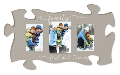 Family First and Forever Triple Puzzle Photo Frame