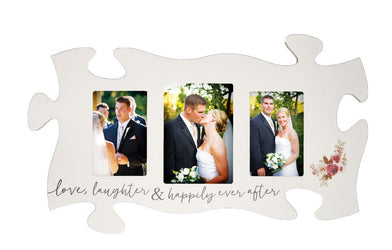Love Laughter and Happily Ever After Triple Puzzle Photo Frame
