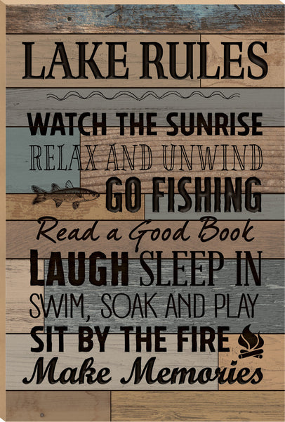 Lake Rules Board Sign - PuzzleMatters