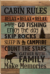 Cabin Rules Board Sign - PuzzleMatters