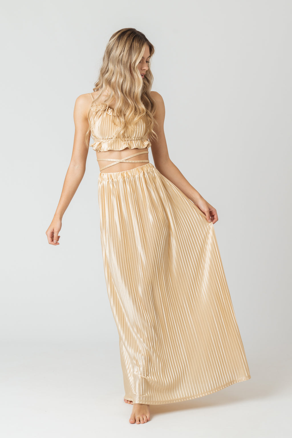 Mayan Maxi Skirt In Gold Satin