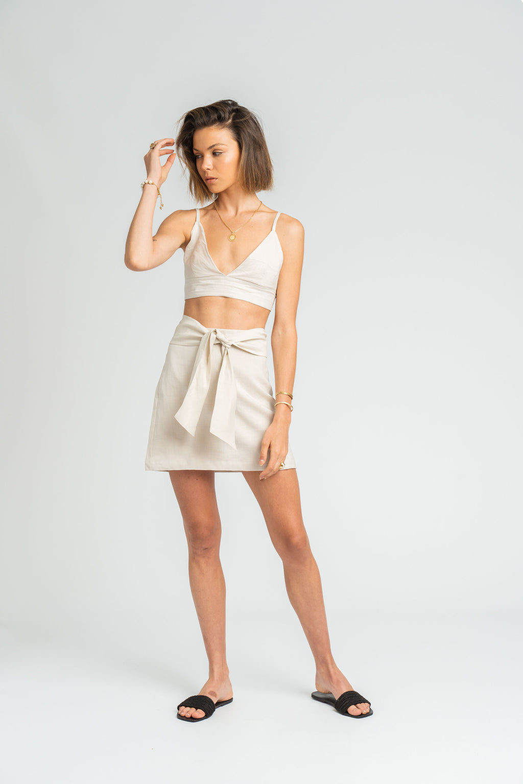 Valencia A-line Skirt in Stone
