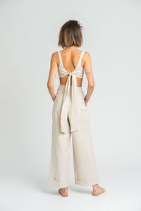 Monsoon Crop Top in Stone Linen