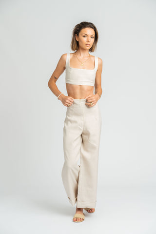 Monsoon Crop Top in Stone