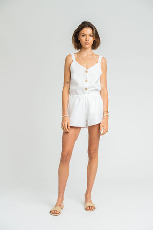 San Jose Simple Short In White Linen