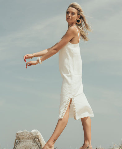 White Siren Pacifico Split Leg Dress in Luxe Ivory Linen