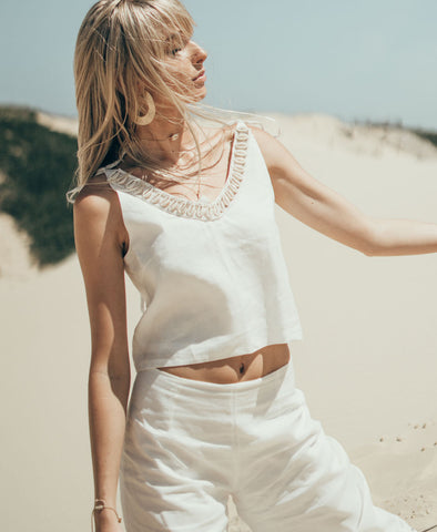 White Siren Iliad V-Neck Top in Luxe Ivory Linen
