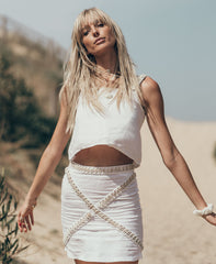 White Siren A-line Shell Skirt in Linen