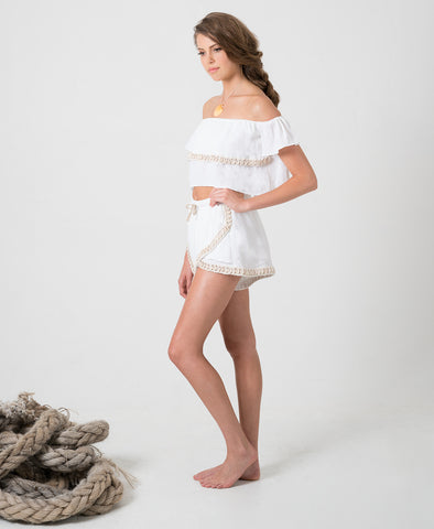 White Siren Shell Shorts in Linen