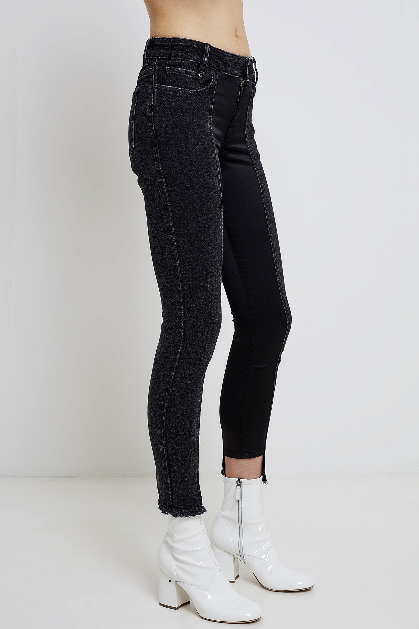 woman slim jeans with black satin panels