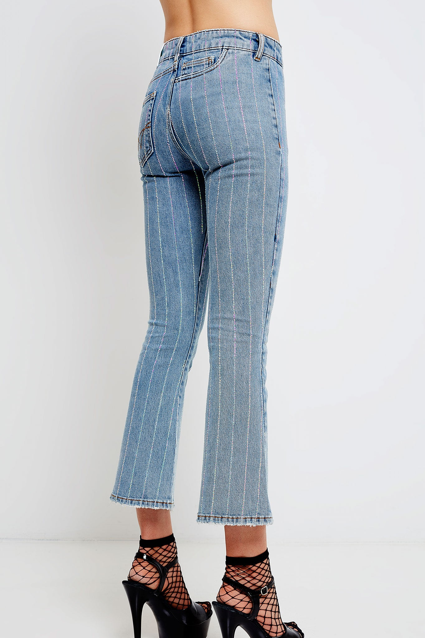 Woman 7/8 flared jeans with crystal stripes