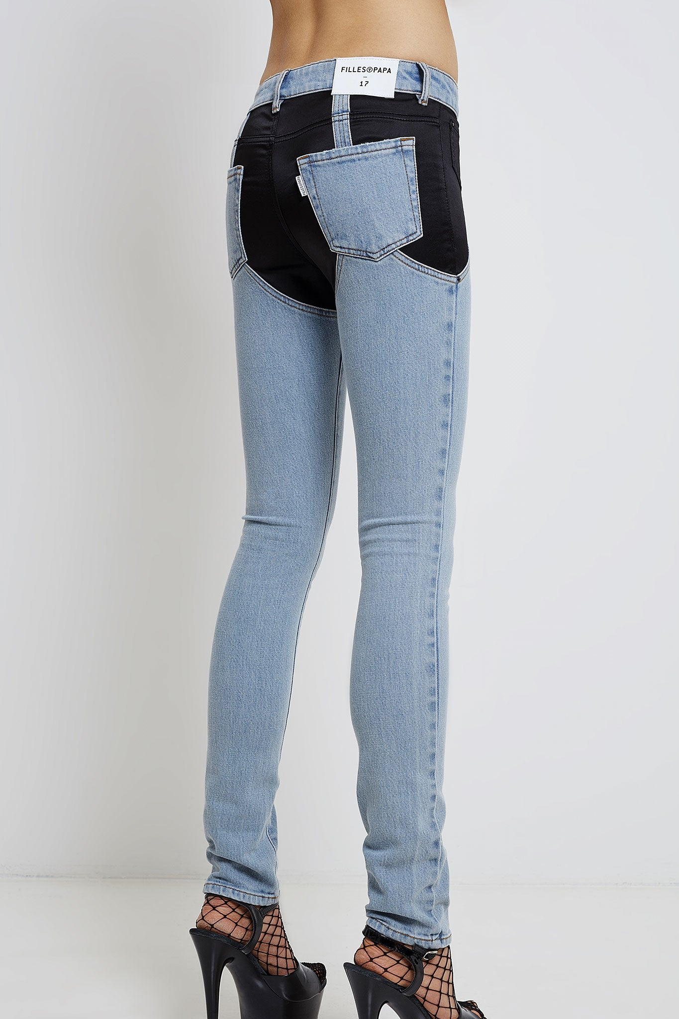 woman jeans with satin panels