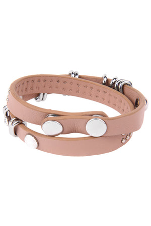 Bracelet: Beige Leather Wrap with steel studs and diamond zirconia. - FrejaDesigns