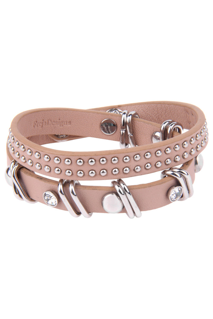 Bracelet: Beige Leather Wrap with steel studs and diamond zirconia.
