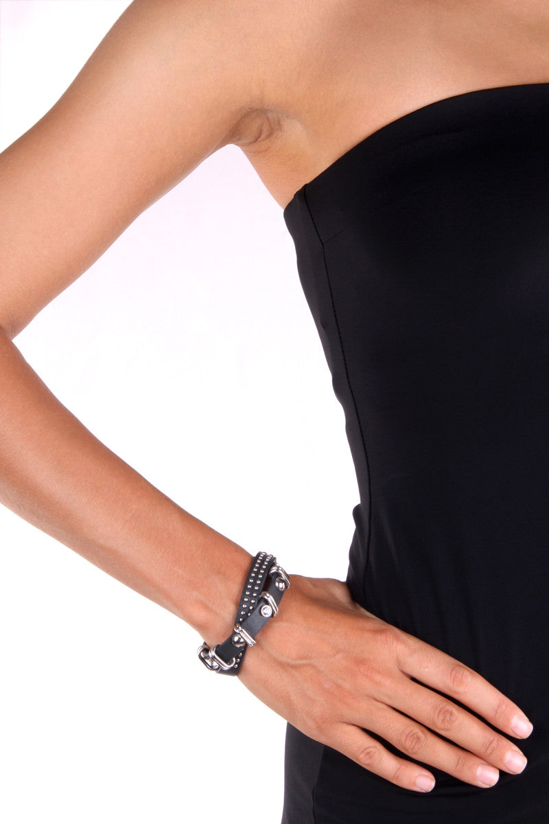 Bracelet: Leather Wrap with steel studs and diamond zirconia (Black) - FrejaDesigns