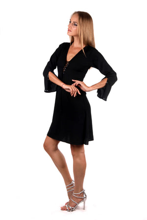 Fitted Swing Dress (Black) - FrejaDesigns
