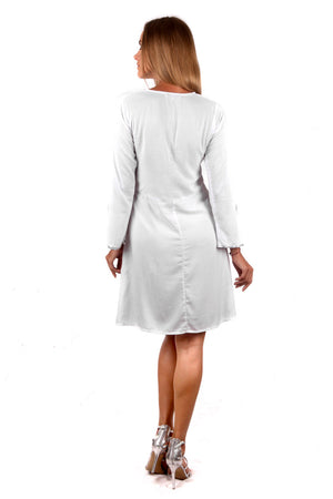 Fitted Swing Dress (White) - FrejaDesigns