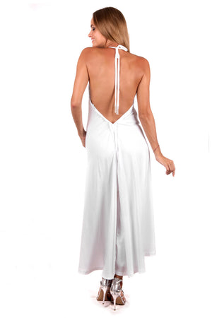 Halter Maxi Dress (White) - FrejaDesigns