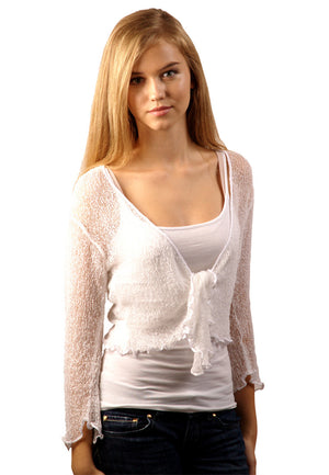 Bolero cardigan (White) - FrejaDesigns