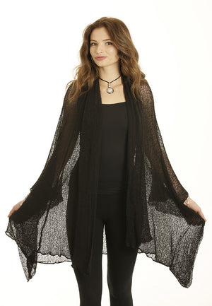 Maxi Jacket/Cardigan (Black) - FrejaDesigns